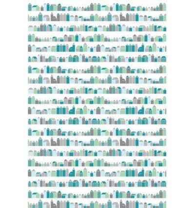inke - wall print wallpaper houses huisjes blauw