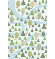 inke - carta da parati pannello foresta (bospad wit)