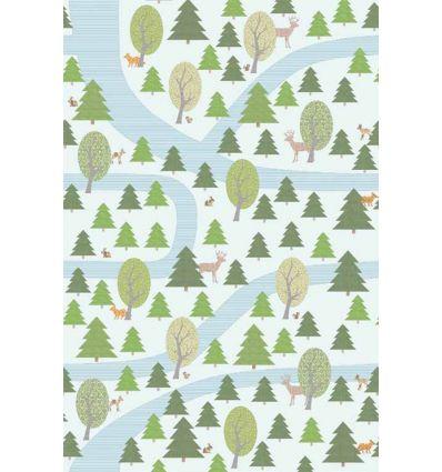 inke - murale in carta da parati foresta bospad wit
