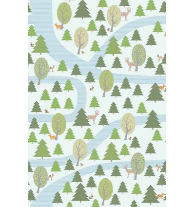 "inke - wall print wallpaper forest ""bospad wit"""