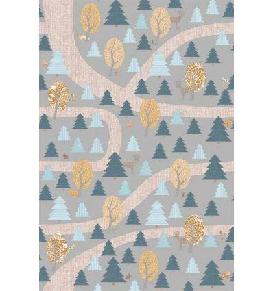 inke - wall mural forest bospad grijs
