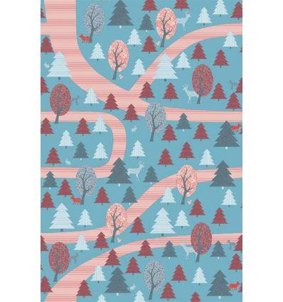 inke - carta da parati pannello foresta (bospad blauw)