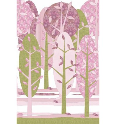 inke - wall print wallpaper trees leidse hout roze