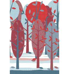 inke - murale in carta da parati alberi leidse hout rood