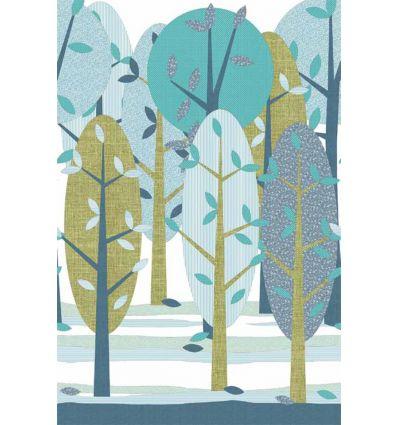 inke - carta da parati pannello bosco - leidse hout blauw