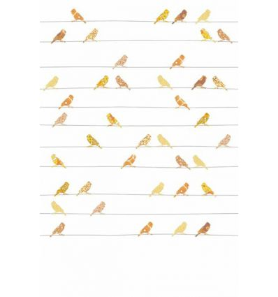 inke - pannello carta da parati uccellini vogels geel