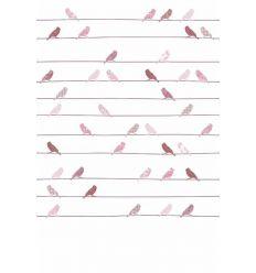 inke - carta da parati pannello uccellini (vogels roze)
