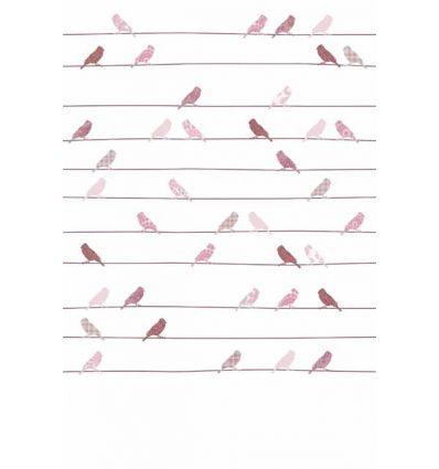 inke - carta da parati pannello uccellini (roze vogels)