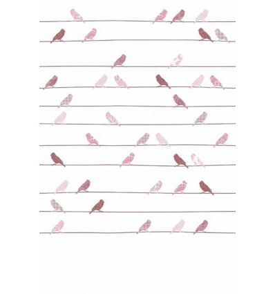 inke - wall print birds vogels roze