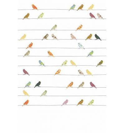 inke - carta da parati pannello uccellini (bonte vogels)