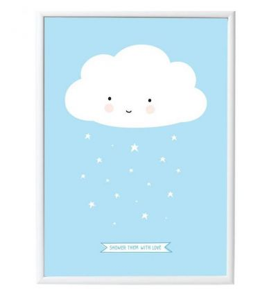 A LITTLE LOVELY COMPANY poster cloud (light blue)