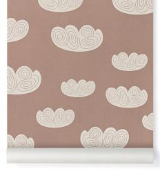 ferm living - carta da parati cloud (rosa antico)