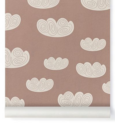 "ferm living - carta da parati nuvole ""cloud"" (rosa antico)"