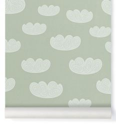 ferm living - carta da parati cloud (verde menta)