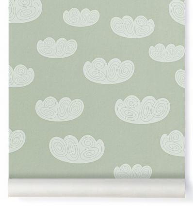 ferm living - carta da parati nuvole cloud (verde menta)