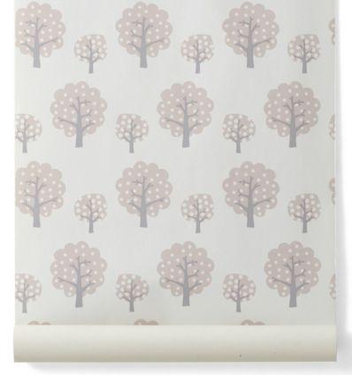 """ferm living - carta da parati alberi """"dotty"""" (rosa)"""