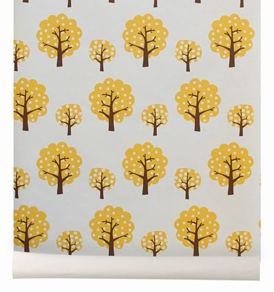 "ferm living - wallpaper trees ""dotty"" (yellow)"