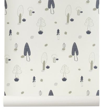 "ferm living - wallpaper trees ""forest"" (blue)"