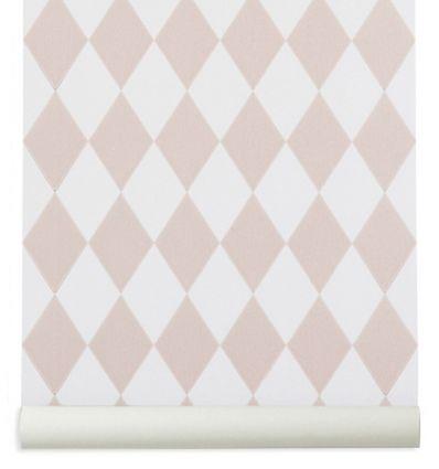 ferm living - carta da parati harlequin (rosa cipria)