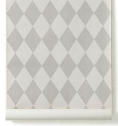 ferm living - carta da parati harlequin (grigio)