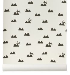 "ferm living - carta da parati conigli ""rabbit"" (off-white)"