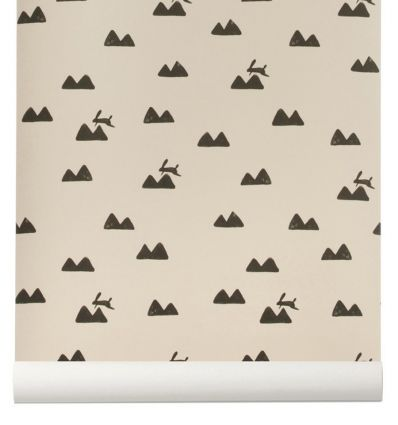ferm living - wallpaper rabbit (rose)