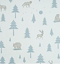 301 hibou home - wallpaper into the wild (grey/storm green)