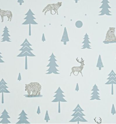 301 hibou home - carta da parati into the wild (grey/storm green)