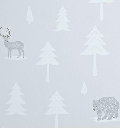 hibou home - wallpaper into the wild (stone/artic white)