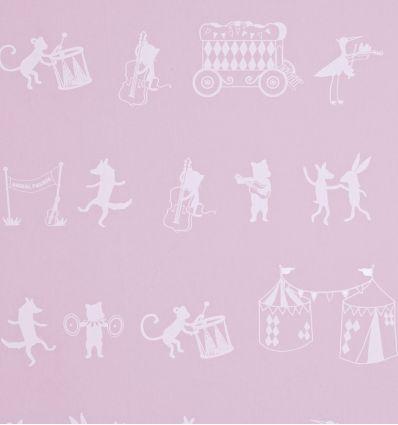 "hibou home - carta da parati ""animal parade"" (chalk pink)"