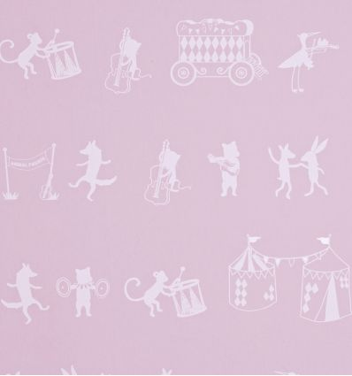 hibou home - wallpaper animal parade (chalk pink)