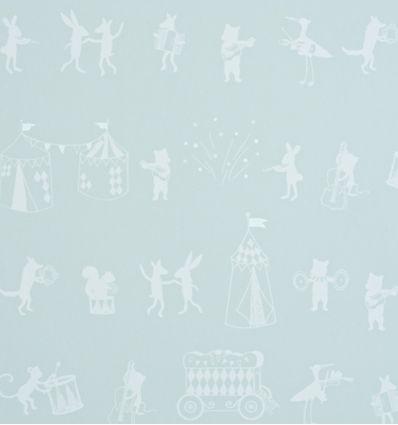 "hibou home - wallpaper ""animal parade"" (mint green)"