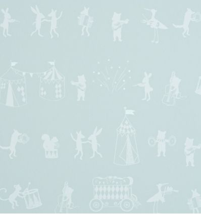 hibou home - wallpaper animal parade (pale sky)