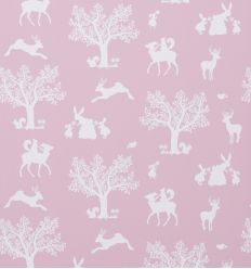 hibou home - wallpaper enchanted wood (peony/white)