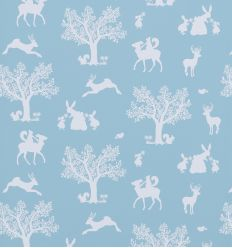 hibou home - carta da parati enchanted wood (duck egg blue/white)