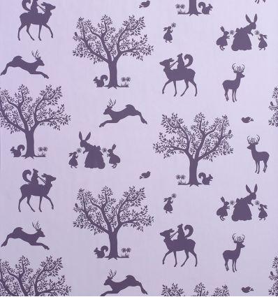 "hibou home - carta da parati ""enchanted wood"" (lilac/aubergine)"