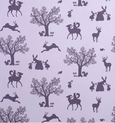 "hibou home - wallpaper ""enchanted wood"" (lilac/aubergine)"