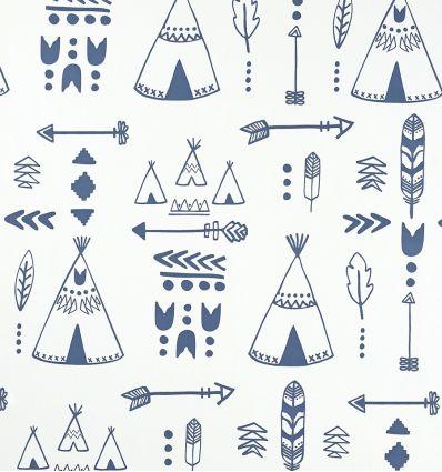 hibou home - carta da parati teepees (indigo/white)