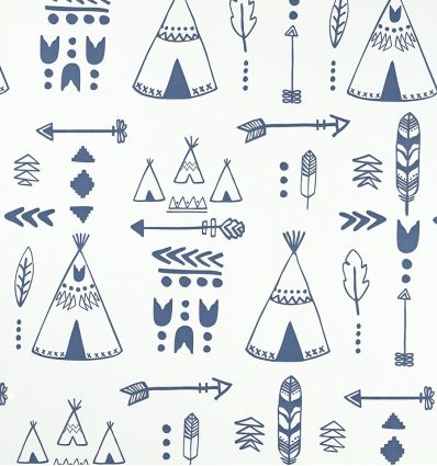 "hibou home - wallpaper ""teepees"" (indigo/white)"