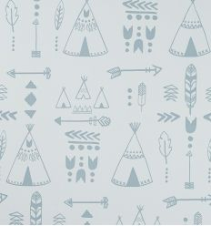 "hibou home - carta da parati ""teepees"" (storm green/grey)"