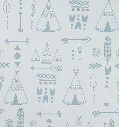hibou home - carta da parati teepees (storm green/grey)