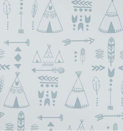 hibou home - wallpaper teepees (storm green/grey)
