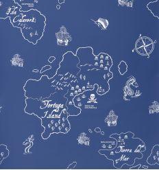hibou home - wallpaper pirate seas (marine blue/white)