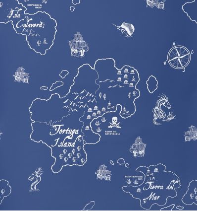 hibou home - wallpaper pirate seas (marine blue/white)