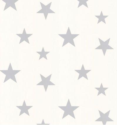 hibou home - carta da parati stars (silver/white)
