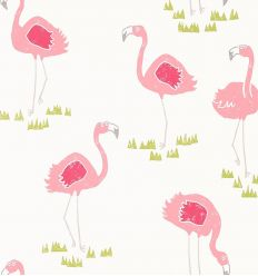 scion - carta da parati felicity flamingo (bianco)