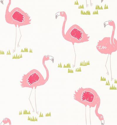 scion - carta da parati felicity flamingo (bianco)
