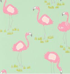 "scion - carta da parati fenicotteri ""felicity flamingo"" (raspberry/pistachio)"