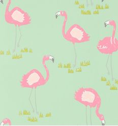 "scion - wallpaper ""felicity flamingo"" (raspberry/pistachio)"