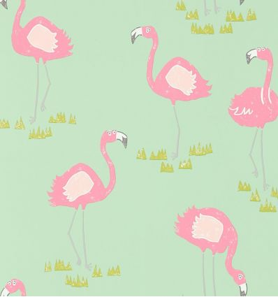 "scion - wallpaper ""felicity flamingo"" (raspberry/pistachio)"